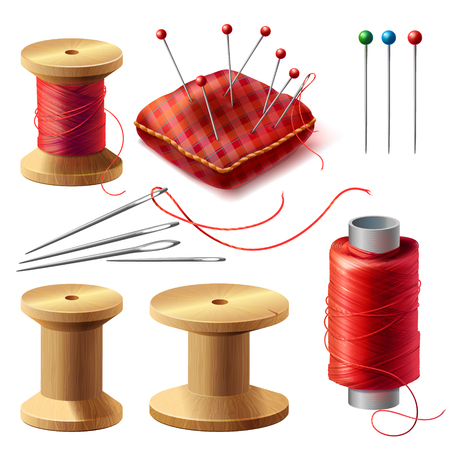 Vector realistic set of sewing supplies isolated on background. Tools for tailoring, needlework and clothing repair, red thread spools, wooden bobbins, needles kit, pins in decorative cushion