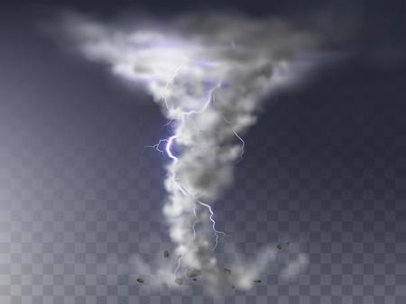 Ilustración de vector de tornado realista con relámpagos, huracán destructivo aislado sobre fondo transparente. Ciclón de viento, vórtice retorcido con destello de luz, desastre natural peligroso