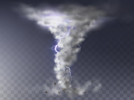 Vector illustration of realistic tornado with lightning, destructive hurricane isolated on transparent background. Wind cyclone, twisted vortex with flash of light, dangerous natural disaster