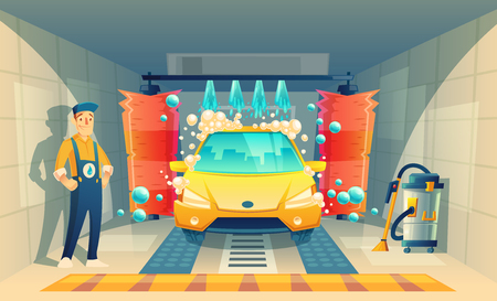 Vector automatic car washing, service with cartoon character in box, yellow vehicle inside the garage. Cleaning transport by liquid detergent, brushes and working staff. Open washing room with worker Illustration