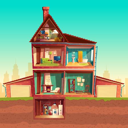 Vektor dreistöckiges Haus Interieur im Querschnitt mit Keller und Garage. Mehrstöckiges privates Gebäude der Karikatur. Dachboden, Wohnzimmer, Bad, Wäscherei im Keller. Architekturhintergrund