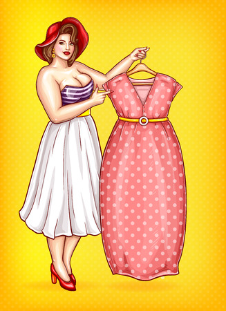 Vector overweight woman, seamstress in striped blouse shows red dress on yellow dotted background. Pop art plus size model or tailor with big breast pointing a finger at clothing. Fashion illustration