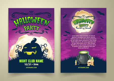 Happy Halloween party invitation or flyer vector template. Spooky cartoon night background with scary pumpkin, bats, skull, candles, pot with magical potion. Front and back sides with places for text 向量圖像