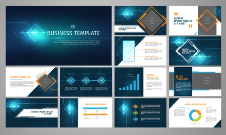 Vector business template set. Blue abstract banner, presentation with infographics, chart, diagram layout. Corporate annual report, advertising, marketing background. Brochure, flyer leaflet cover. Ilustração