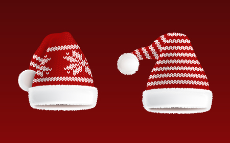 Vector 3d Realistic Illustration Of Two Knitted Santa Hats With