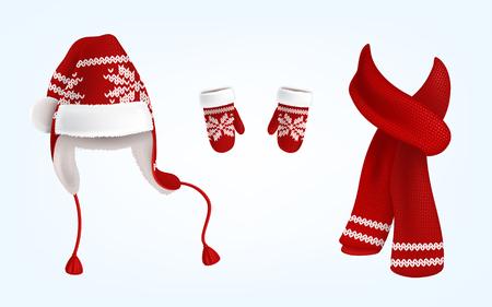 Realistische vectorillustratie van gebreide kerstmuts met oorkleppen, rode wanten en sjaal met decoratief patroon op hen, geïsoleerd op de achtergrond. Traditionele kerstkleding voor hoofd, handen en nek Stockfoto - 101823486