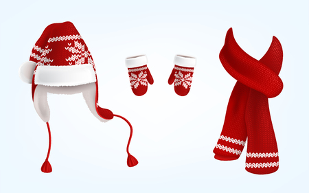 Vector realistic illustration of knitted santa hat with earflaps, red mittens and scarf with decorative pattern on them, isolated on background. Christmas traditional clothes for head, hands and neck Illustration