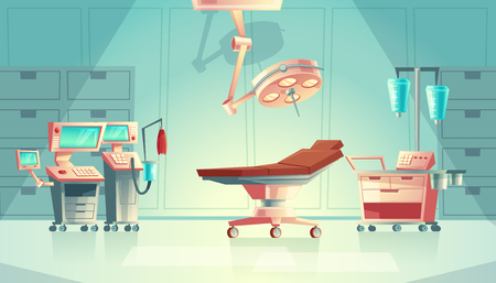 Vector medical surgery room concept, cartoon hospital equipment. Medicine life support system with lamp for emergency, operation. Clinic stuff, healthcare surgical operating elements. Illusztráció