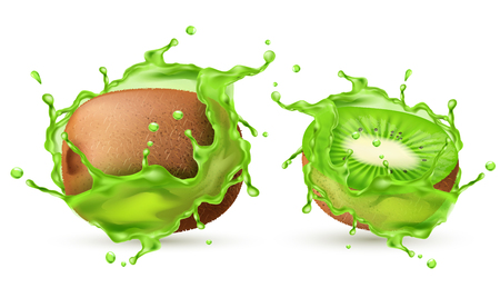 Vector 3d realistic tropical kiwi in splashes of juice. Green exotic sweet fruit in fresh vitamin liquid for ad banner, poster, design element. Mock up, template of vegetarian nutrition