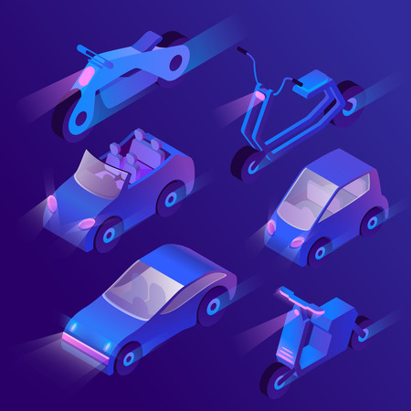 Vector set of isometric urban transportation at night with turned on headlights. Private cars and other transport - motorcycle, bike, scooter with headlamps. Collection of vehicles in cartoon style