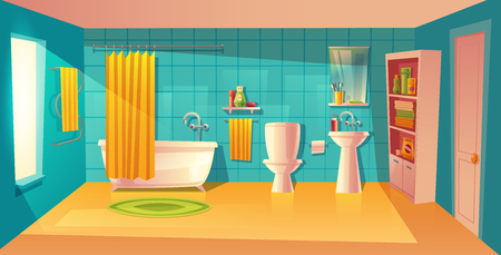Vector bathroom interior, room with furniture. White bathtub with curtain, closet with shelves and washing gel, shampoo. Mirror, faucet, sink. Household background cartoon architecture decoration