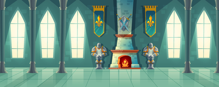 Vector castle hall, interior of royal ballroom with fireplace, knight armor, flags for dancing. Big room with columns, pillars in luxury medieval palace. Fantasy, fairy tale or game background Vettoriali