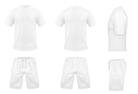 Vector realistic set of white t-shirts with short sleeves and shorts, sportswear, sport uniform for football or rugby isolated on background. Mockup for clothes design, front, rear and side view Ilustracja