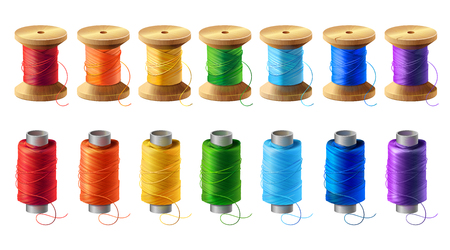 Vector realistic set of wooden and plastic bobbins, spools with colored thread isolated on background. Equipment for sewing, tailoring, accessory for needlework and clothing repair
