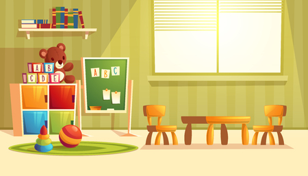 Vector illustration of cartoon kindergarten - toys for children, books, furniture for preschool, infant school. Teddy bear, ball with other elements for teaching and learning kids. Illustration