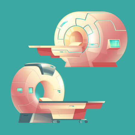 Vector cartoon MRI scanner for tomography, medical examination. Machine of magnetic resonance imaging for x-ray diagnosis. Modern technology for hospitals, clinics isolated on background.