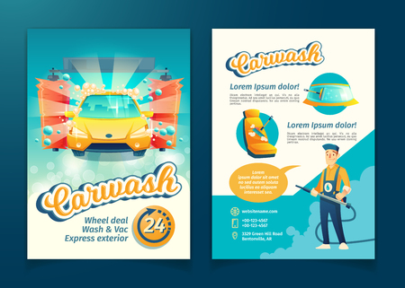 Vector automatic car washing flyer, ad banner of service with cartoon character. Promotion poster of cleaning transport by liquid detergent, brushes and working staff. Advertising of washing business Çizim