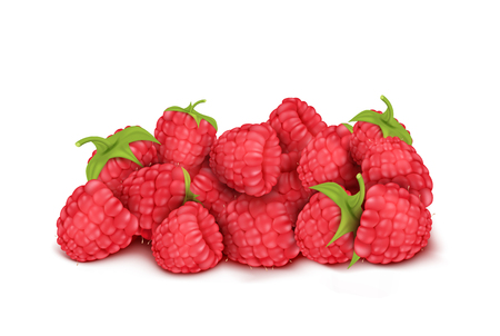 Vector realistic heap of red ripe raspberry isolated on background. Natural summer fruit, forest berry with sweet taste. Ingredient for juices, jams, yogurts, compotes. Mockup for package design Banque d'images - 102059673