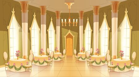 Vectorillustratie cartoon van kasteelzaal, balzaal voor dansen, koninklijke recepties, diners of banketten. Interieur van grote luxe kamer met dansvloer, kroonluchter, kolommen, tafels in middeleeuws paleis
