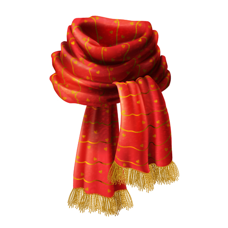 Vector 3d realistic illustration of red knitted scarf with decorative pattern and gold fringe, isolated on background. Warm woolen knitwear for cold winter or autumn to wear around neck