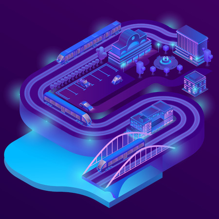 Vector 3d isometric train station of megapolis. City parking in violet colors for cars. Railway terminal with trains. Buildings, bridge with ultraviolet lighting. Streets with traffic, infrastructure Stock fotó
