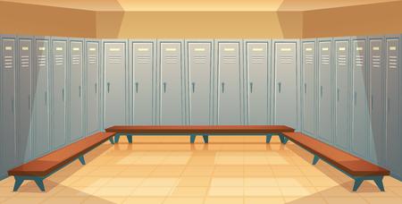 Fond de dessin animé de vecteur avec des rangées de casiers individuels, dressing vide avec placards métalliques fermés. Espace de rangement pour changer de vêtements, garder l'équipement de sport, les armoires d'école, vue de face Vecteurs