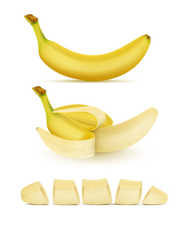 Vector realistic set of yellow bananas, whole, peeled and sliced, isolated on background. Sweet tropical fruit, natural nutritious food for vegetarians. Clipart for advertising, package design
