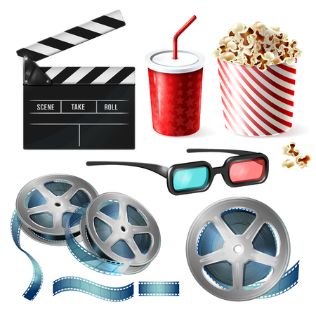 Vector realistic set of cinema equipment, cardboard bucket with popcorn, plastic cup for drinks, reel with tape, glasses, clapperboard. Clipart with objects of film industry isolated on background Illustration