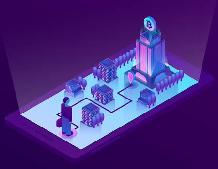 Vector 3d isometric bitcoin concept with building, office for mining of cryptocurrency on smartphone screen, app for device. Man on route for internet money, electronic technology, digital banking.