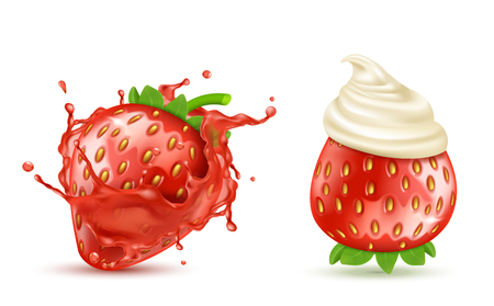 Vector set of two red ripe strawberries with juicy splash and with whipped cream or icing, isolated on background. Summer fruit, berry with sweet taste. Mockup for juices or yogurts package design