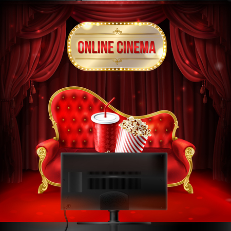 Vector online cinema concept. Red velvet sofa with bucket of popcorn and plastic cup for drinks in front of the TV set for home theater. Illuminated signboard and red curtains as background.