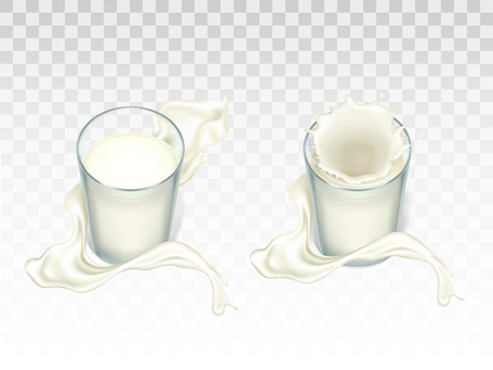 Vector glasses with milk. Splashing liquid, flowing splashes around glassful. Mock up of farm product isolated on translucent background. Elements for advertising poster, promo banner of natural drink