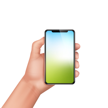 Vector 3d realistic human hand holding smartphone. Template, mock up for mobile app or advertisment. Screen of electronic device, smart phone for sale poster, banner. Illustration