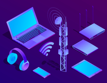 Vector 3d isometric violet laptop, router with wi-fi and radio repeater. Ultraviolet computer with headphones, smartphone for networking, cloud storage. Wireless technology, electronic mobile device.
