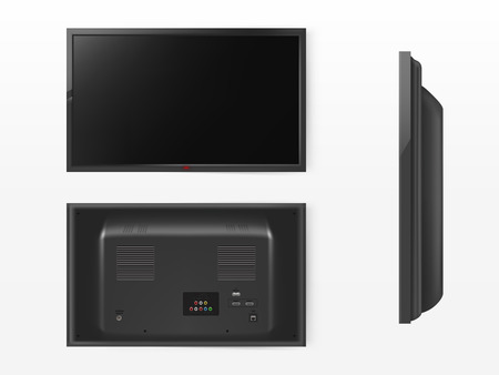 Vector lcd screen, mock up of plasma television. Front, back and side view of modern video system. HD tv, HDMI digital technology. Black display in 3d realistic style isolated on white background