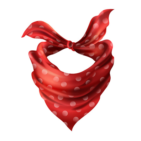 Vector 3d realistic silk red neck scarf. Fabric cloth of dotted neckerchief. Scarlet bandana, outerwear of western cowboy. Unisex accessory isolated on white background Vettoriali