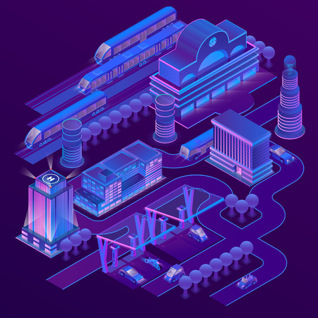 Vector 3d isometric city in ultra violet colors with modern buildings, skyscrapers, railway station with trains, roads with electric cars. Cityscape, map of futuristic town in neon illuminations