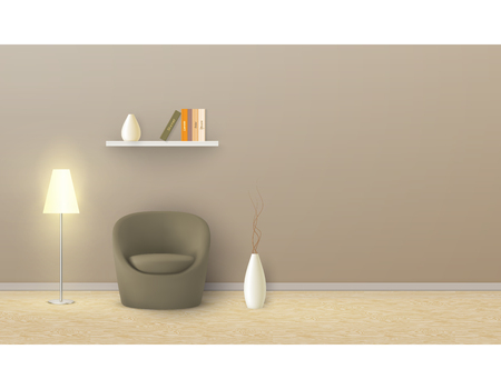 Vector realistic mockup of empty room with beige wall, soft armchair, floor lamp, shelf with books. Studio with minimalist interior. Template for your creative design, for presentation of your product