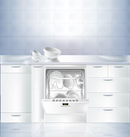 Vector realistic mockup of kitchen room with white clean floor and wall. Cupboard with built-in dishwasher machine filled with clean plates. Template, background for presentation detergent product