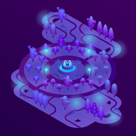 Vector 3d isometric park with purple plants, ultra violet trees, benches and fountain. Map of city garden landscape with nature objects in ultraviolet light. Botanical decoration for game design