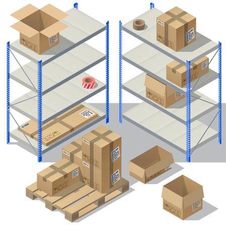 Vector 3d isometric storage of post service. Set of cardboard packaging, mail with adhesive tapes for delivery. Packages, shelves isolated on white background. Pasteboard boxes on wooden pallet Illustration