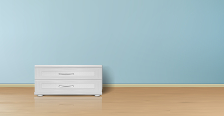 Vector realistic mockup of empty room with flat blue wall, wooden floor and stand with drawers. Studio with minimalist interior. Template for your creative design, for presentation of your product
