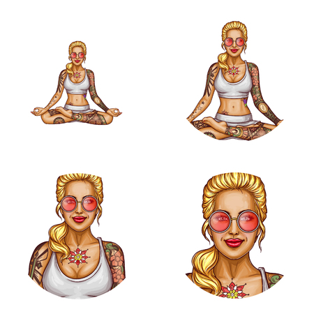 Vector avatar of pop art smiling tattooed blonde girl in sun glasses doing yoga. Networking element with woman sitting in a lotus pose or padmasana. Young lady with tattoo for chat, blog