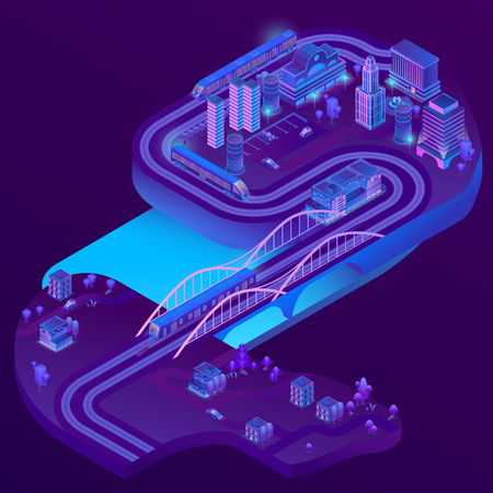 Vector 3d isometric train station of megapolis, railways to suburb, village. City parking in violet colors for cars. Terminal with trains. Buildings, bridge with ultraviolet lighting Illustration