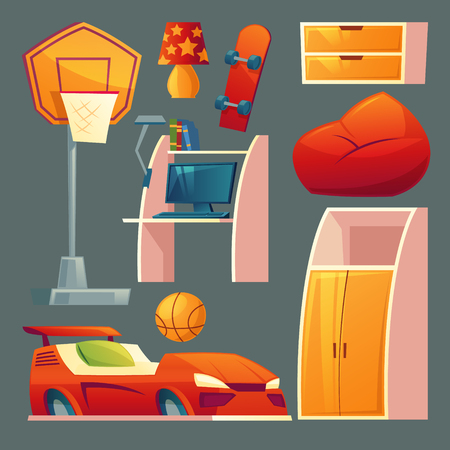 Vector set of children s bedroom - furniture, toys for boy room. Bed as a sport car, basketball equipment and closet in cartoon style. Design elements for kids interior