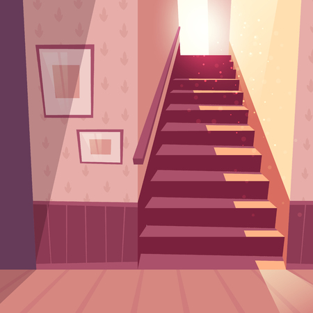 Vector illustration of staircase in house. Home inside with light from window and shadows on steps. Front view of stairs with handrail, handhold in maroon colors.