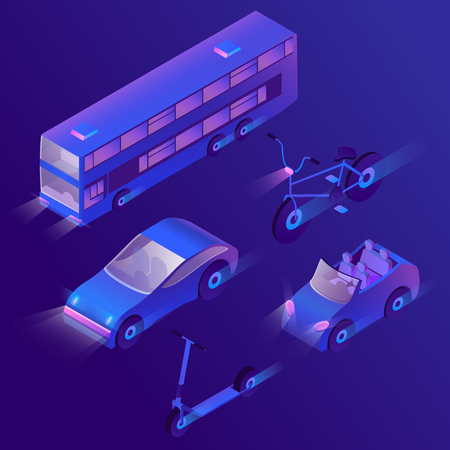 Vector set of isometric urban passenger transportation at night with turned on headlights. Private cars, bus and bike with headlamps. Collection of vehicles in cartoon style in ultra violet colors.