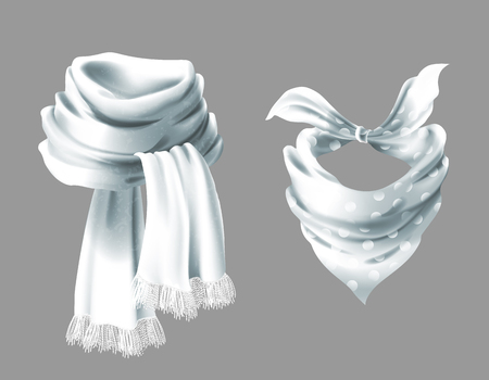 3d realistic silk white scarf. Fabric cloth of dotted neckerchief. Gray in white peas bandana, outerwear of western cowboy. Unisex accessory isolated on background