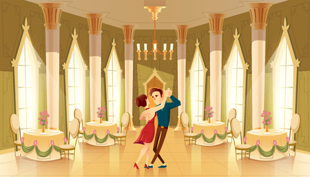 Vector hall with dancers, interior of ballroom. Big room with chandelier, columns for royal reception in luxury medieval palace Иллюстрация