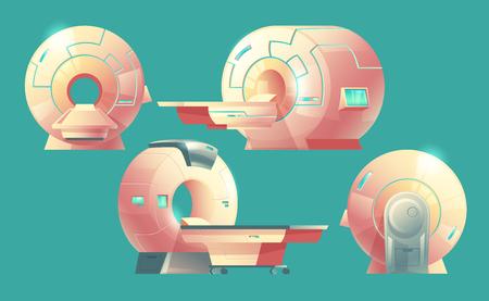 Escáner de resonancia magnética de dibujos animados de vector para tomografía, examen médico. Diferentes vistas de la máquina de resonancia magnética para diagnóstico por rayos X